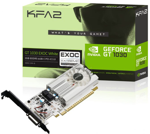 Видеокарта GeForce GT 1030 EXOC White от KFA2
